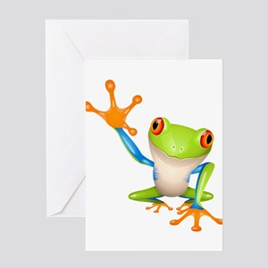 Cute colorful frog design Greeting Cards