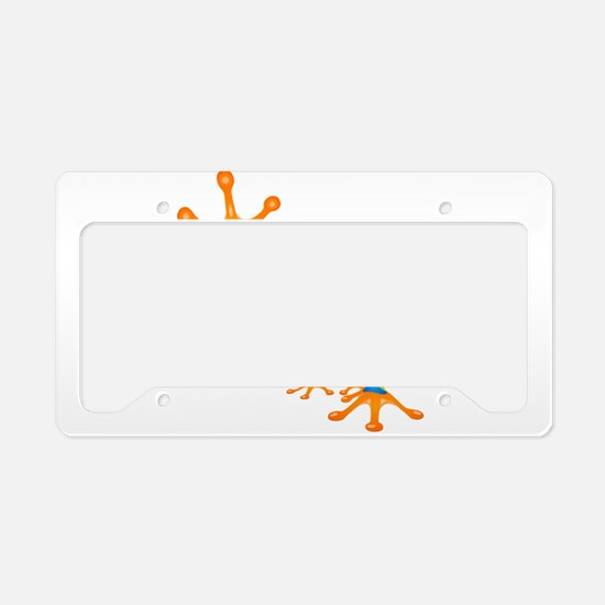 Cute colorful frog design License Plate Holder