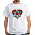Heart For Israel White T-Shirt