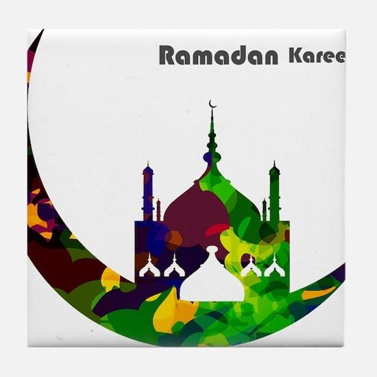 Colorful Ramadan Kareem design Tile Coaster