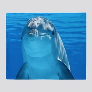 Cute Curious Dolphin Blue Wate Throw Blanket