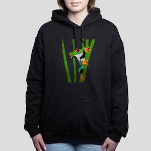 Cute frog on grass Women's Hooded Sweatshirt