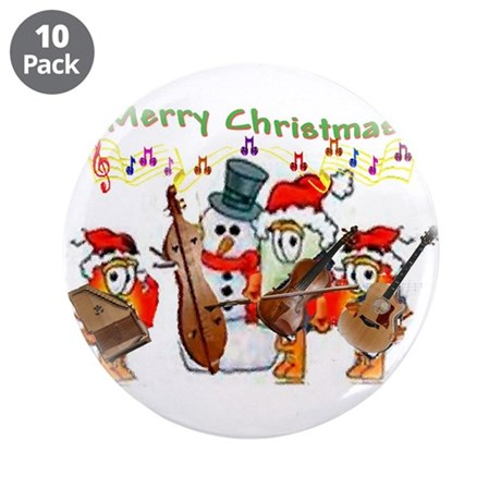 """A musical Merry Christmas 3.5"""" Button (10 pack)"""