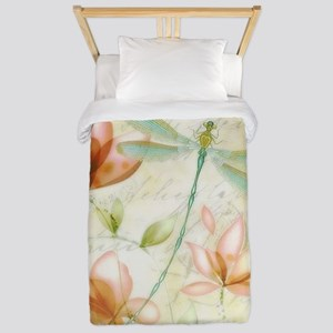 Pink flowers and dragonfly Twin Duvet