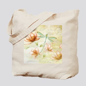 Pink flowers and dragonfly Tote Bag