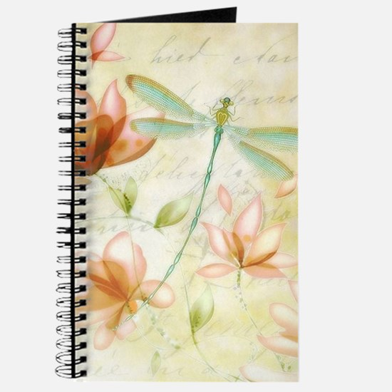 Pink flowers and dragonfly Journal