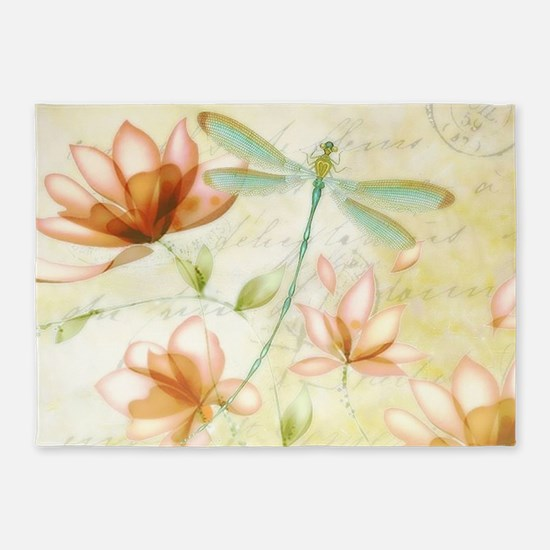 Pink flowers and dragonfly 5'x7'Area Rug