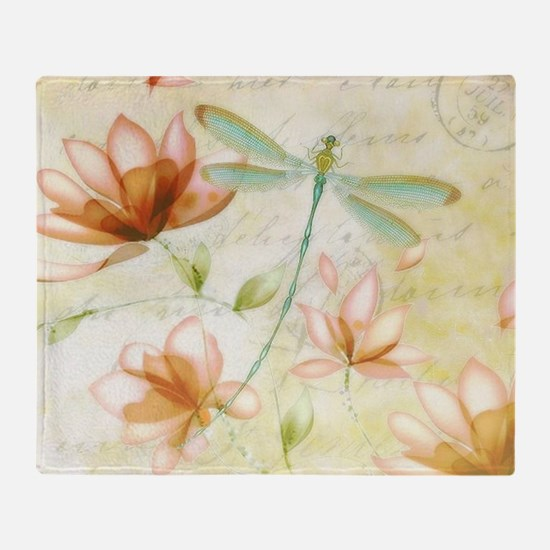 Pink flowers and dragonfly Throw Blanket
