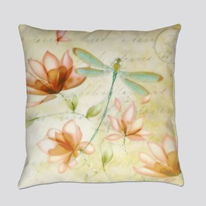 Pink flowers and dragonfly Everyday Pillow