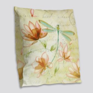 Pink flowers and dragonfly Burlap Throw Pillow