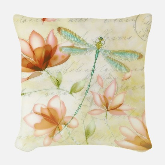 Pink flowers and dragonfly Woven Throw Pillow