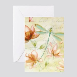 Pink flowers and dragonfly Greeting Cards