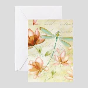 Dragonfly vintage greeting cards cafepress pink flowers and dragonfly greeting cards m4hsunfo