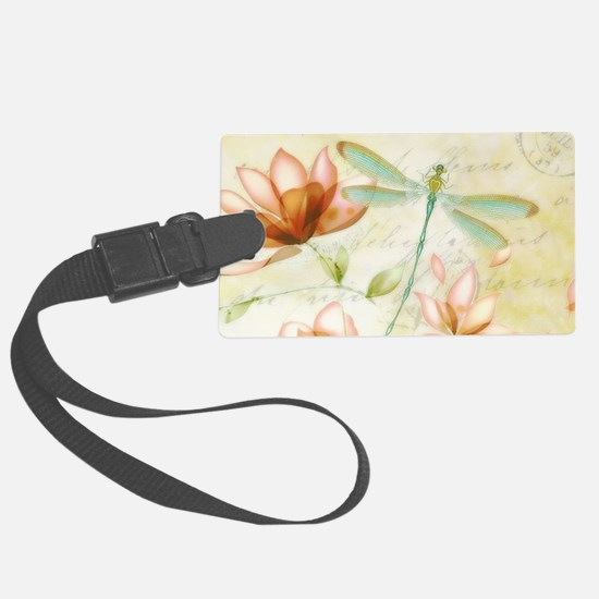 Pink flowers and dragonfly Luggage Tag