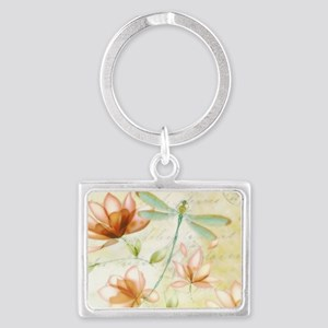 Pink flowers and dragonfly Keychains