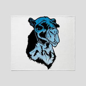 Blue camel head art Throw Blanket