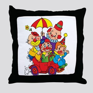 Clown kids in car design Throw Pillow