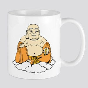 Cartoon laughing Buddha on clouds Mugs
