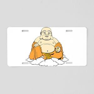 Cartoon laughing Buddha on Aluminum License Plate