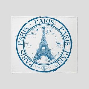 Paris travel stamp Throw Blanket