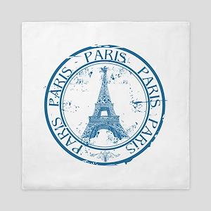 Paris travel stamp Queen Duvet