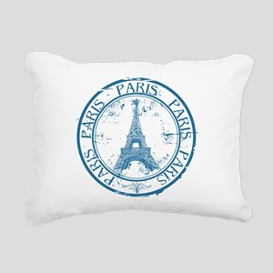 Paris travel stamp Rectangular Canvas Pillow