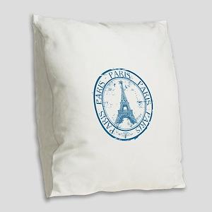 Paris travel stamp Burlap Throw Pillow