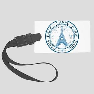 Paris travel stamp Large Luggage Tag