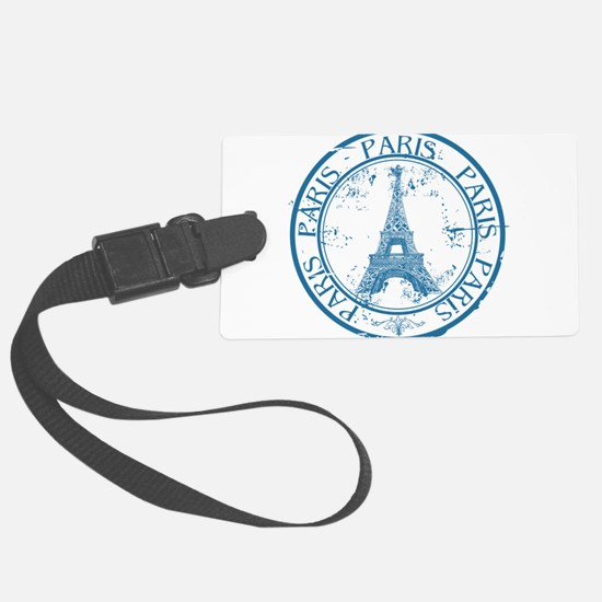 Paris travel stamp Large Luggage Tag