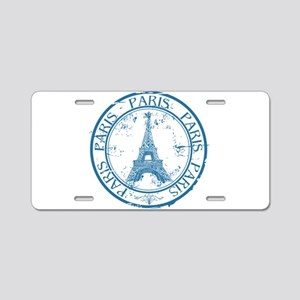 Paris travel stamp Aluminum License Plate
