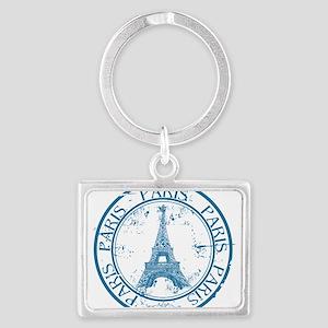 Paris travel stamp Keychains