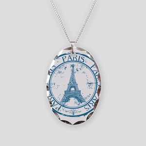 Paris travel stamp Necklace Oval Charm
