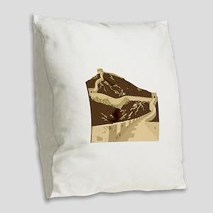 Great wall of china Burlap Throw Pillow
