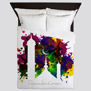 Colorful Ramadan Kareem design Queen Duvet