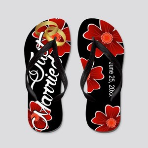 9af1f2bd334141 Just Married Floral Custom Flip Flops