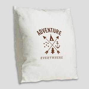 ADVENTURE EVERYWHERE Burlap Throw Pillow