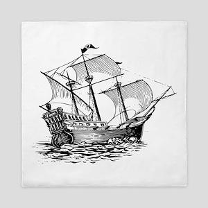 Galleon sail ship clip art Queen Duvet