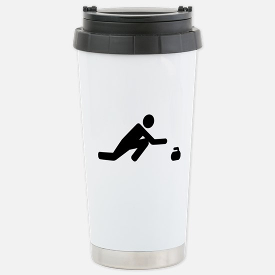 Curling player Stainless Steel Travel Mug
