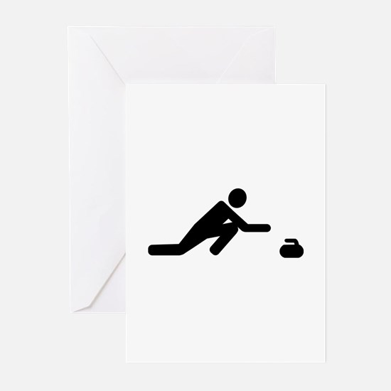 Curling player Greeting Cards (Pk of 20)