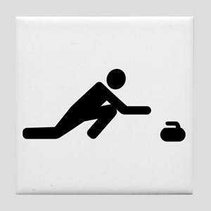 Curling player Tile Coaster