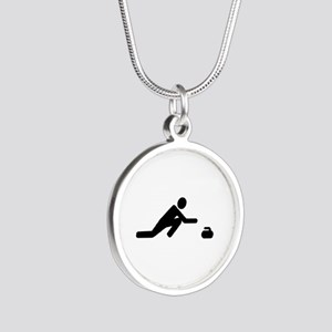 Curling player Silver Round Necklace