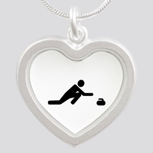 Curling player Silver Heart Necklace