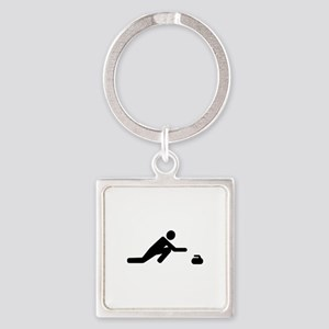 Curling player Square Keychain