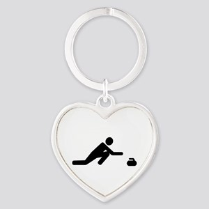 Curling player Heart Keychain