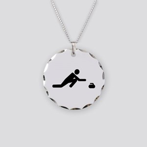 Curling player Necklace Circle Charm