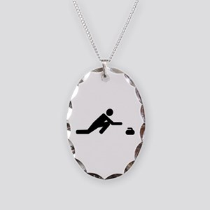 Curling player Necklace Oval Charm