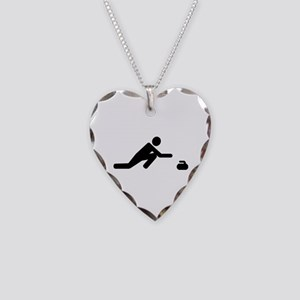 Curling player Necklace Heart Charm