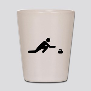 Curling player Shot Glass