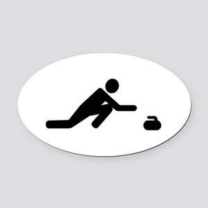 Curling player Oval Car Magnet