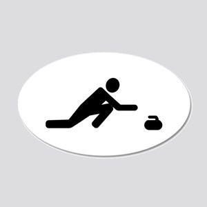Curling player 20x12 Oval Wall Decal